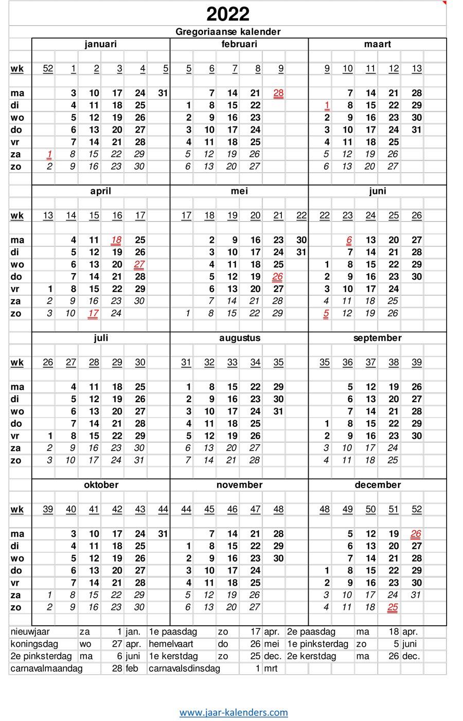 Jaarkalender Uitprinten   New Calendar Template Site